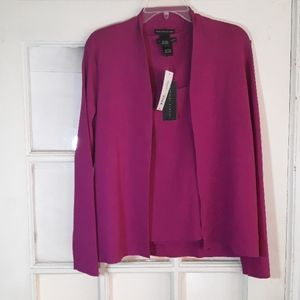 Fuschia open cardigan w/ matching top